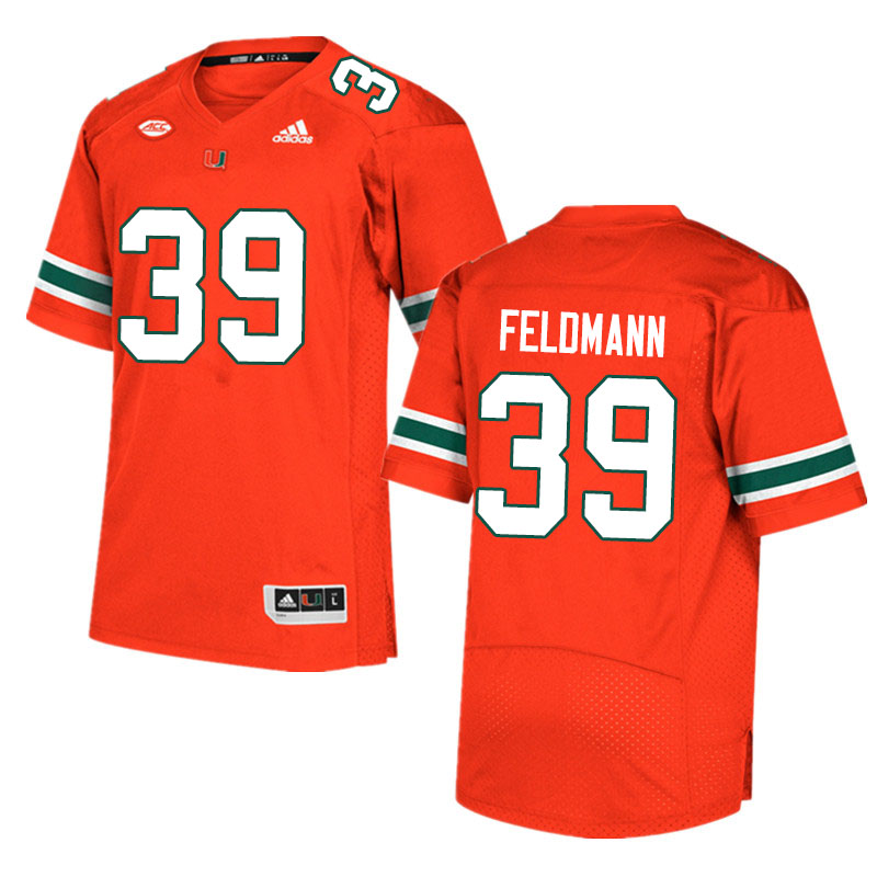 Adidas Miami Hurricanes #39 Gannon Feldmann College Football Jerseys Sale-Orange
